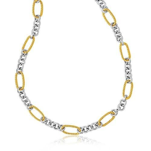 14k Two-Tone Gold Long Cable Inspired and Round Link Necklace, size 17''