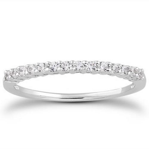 14k White Gold Shared Prong Diamond Wedding Ring Band with Airline Gallery, size 7.5