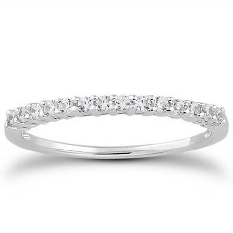 14k White Gold Shared Prong Diamond Wedding Ring Band with Airline Gallery, size 8