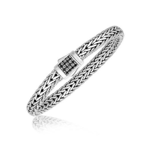 Sterling Silver Braided Style Men's Bracelet with Black Sapphire Accents, size 7.5''