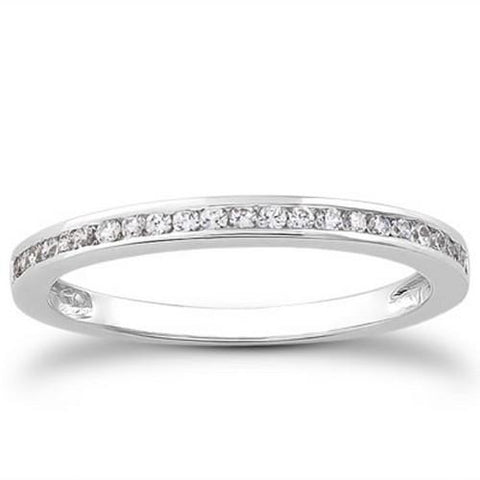 14k White Gold Slender Channel Set Diamond Wedding Ring Band Set 1/2 Around, size 7.5