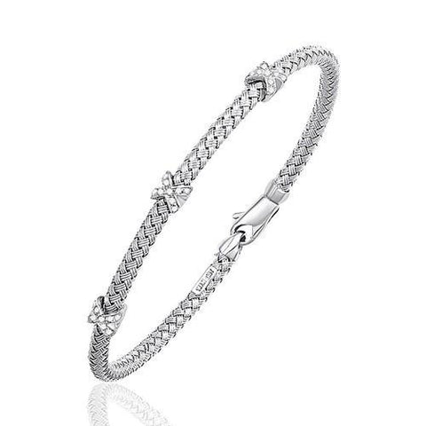 Basket Weave Bangle with Cross Diamond Accents in 14k White Gold (4.0mm), size 7.25''