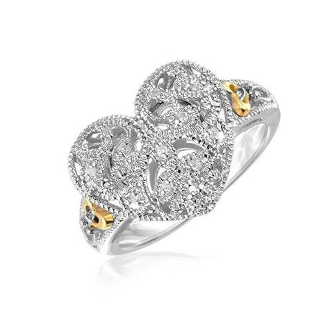 Designer Sterling Silver and 14k Yellow Gold Filigree Heart Ring with Diamonds, size 7