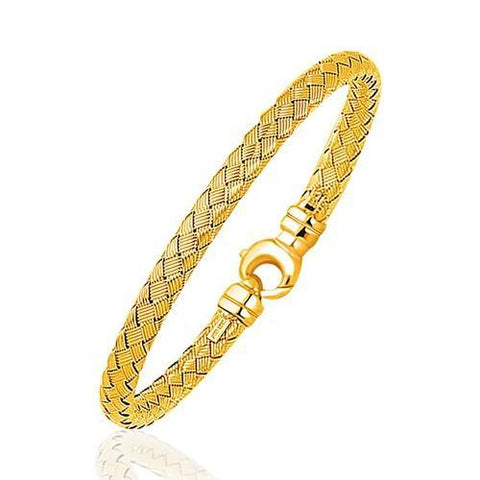 Fancy Weave Bangle in 14k Yellow Gold (5.0mm), size 7.25''