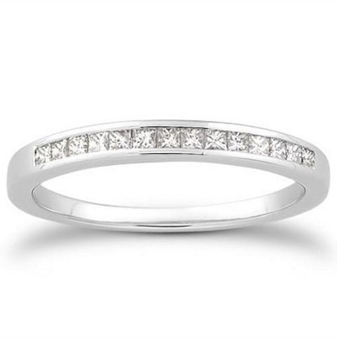 14k White Gold Channel Set Princess Diamond Wedding Ring Band, size 5.5