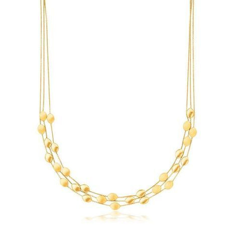 14k Yellow Gold Triple Strand Pebble Necklace, size 17''