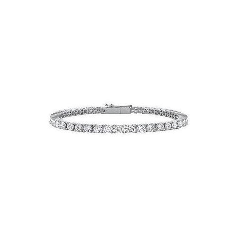 Cubic Zirconia Prong Set Sterling Silver Tennis Bracelet 10.00 CT TGW