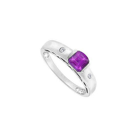 Amethyst and Diamond Ring : 14K White Gold - 0.66 CT TGW