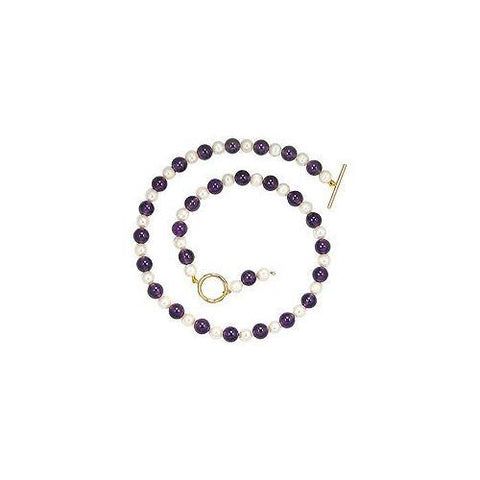 Cultured Pearl and Amethyst Necklace 14K Yellow Gold