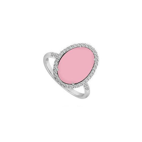 Sterling Silver Pink Chalcedony and Cubic Zirconia Ring 16.00 CT TGW