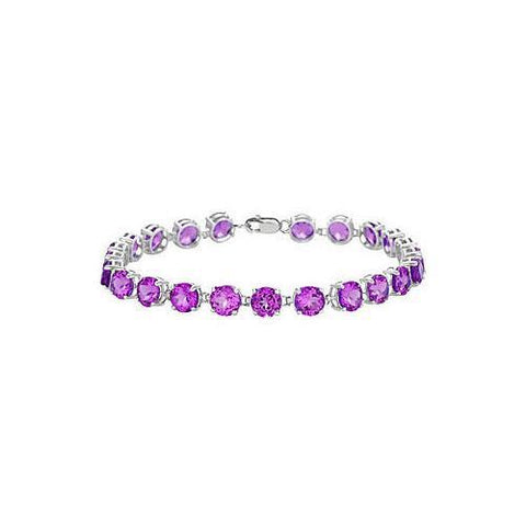 Sterling Silver Prong Set Round Amethyst Bracelet with 12.00 CT TGW