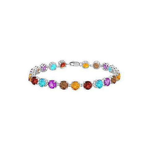 Sterling Silver Prong Set Round Multi Color Gemstone Bracelet with 12.00 CT TGW