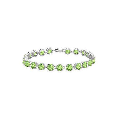 Sterling Silver Prong Set Round Peridot Bracelet with 12.00 CT TGW