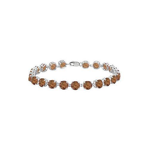 Sterling Silver Prong Set Round Smoky Topaz Bracelet with 12.00 CT TGW