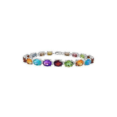 Sterling Silver Prong Set Oval Multi Color Gemstone Bracelet with 15.00 CT TGW