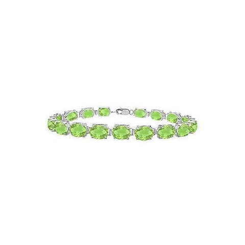 Sterling Silver Prong Set Oval Peridot Bracelet with 15.00 CT TGW