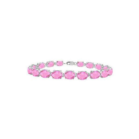 Sterling Silver Prong Set Oval Pink Topaz Bracelet with 15.00 CT TGW