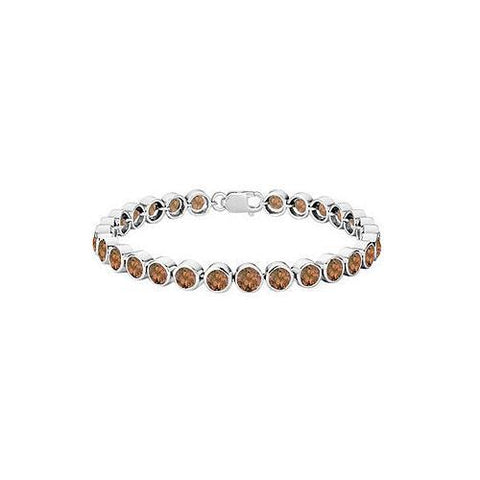 Smoky Topaz Bezel-Set Tennis Bracelet : .925 Sterling Silver – 15.00 CT TGW