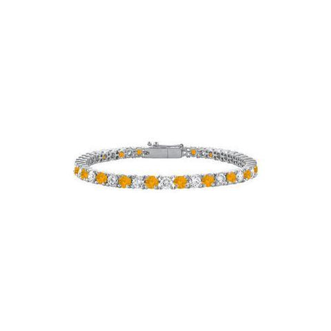Sterling Silver Round Citrine and Cubic Zirconia Tennis Bracelet 2.00 CT TGW
