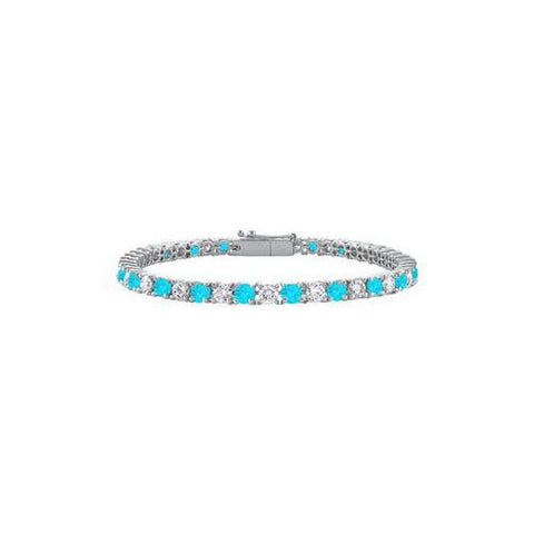 Sterling Silver Round Blue Topaz and Cubic Zirconia Tennis Bracelet 3.00 CT TGW