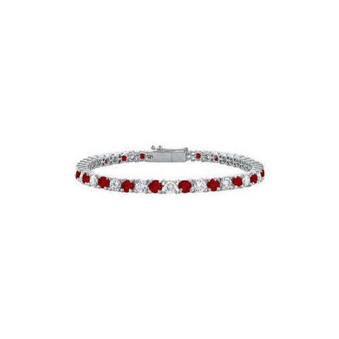 Sterling Silver Round Garnet and Cubic Zirconia Tennis Bracelet 3.00 CT TGW