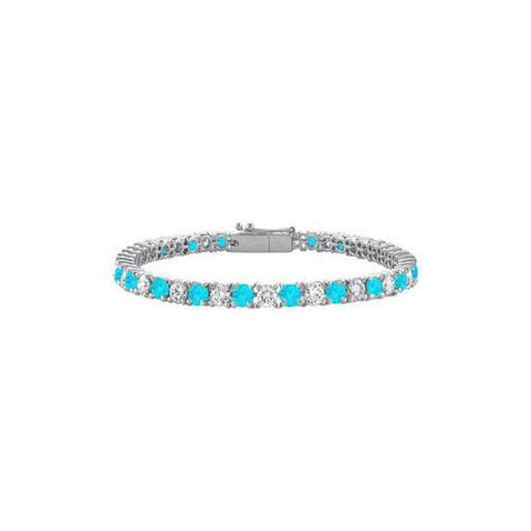 Sterling Silver Round Blue Topaz and Cubic Zirconia Tennis Bracelet 4.00 CT TGW