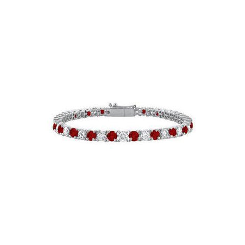 Sterling Silver Round Garnet and Cubic Zirconia Tennis Bracelet 4.00 CT TGW