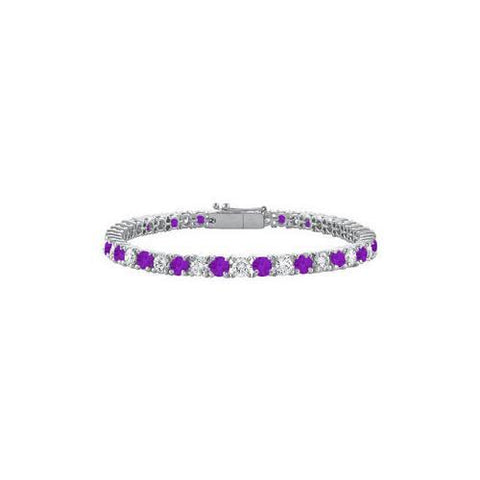 Sterling Silver Round Amethyst and Cubic Zirconia Tennis Bracelet 5.00 CT TGW