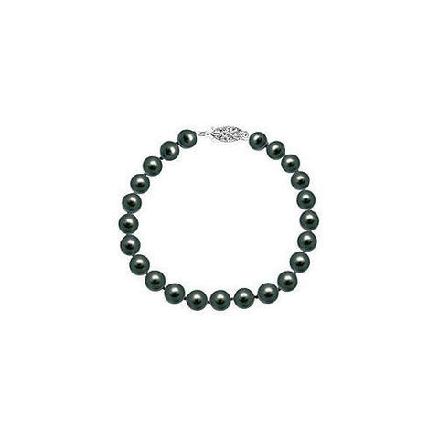 Cultured Black Akoya Pearl Bracelet : 14K White Gold - 7 MM
