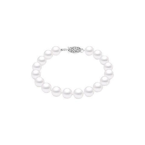 Cultured White Akoya Pearl Bracelet : 14K White Gold - 7 MM