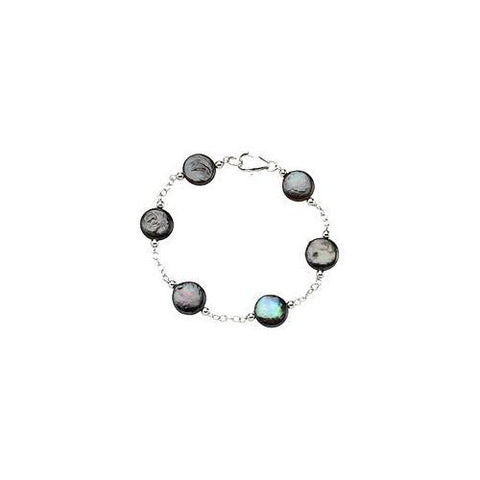 Sterling Silver and Freshwater Cultured Black Coin Pearl Station Bracelet - 7.5 Inch/ 12-13 MM
