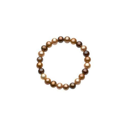 Sterling Silver and Freshwater Cultured Dyed Chocolate Pearl Bracelet - 7 Inch/ 8-9 MM
