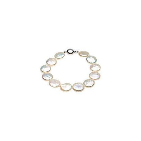Sterling Silver and Freshwater White Cultured Coin Pearl Bracelet - 8 Inch/13-14 MM