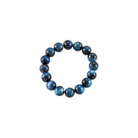 Genuine Blue Tiger Eye Stretch Bracelet - 12.00 X 12.00 MM with 6.50 INCH