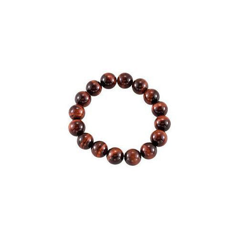 Genuine Red Tiger Eye Stretch Bracelet - 12.00 X 12.00 MM with 6.50 INCH