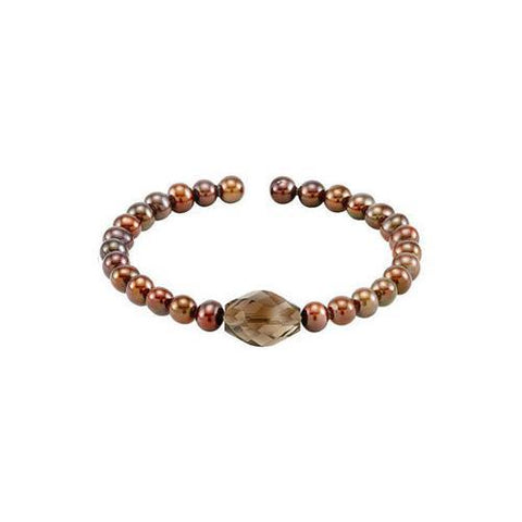 Smoky Quartz & Cultured Freshwater Pearl Cuff 7.5 Inch Bracelet - .925 Sterling Silver