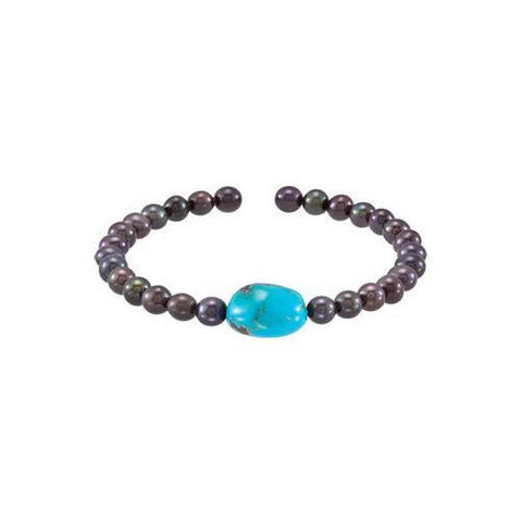 Turquoise & Black Cultured Freshwater Pearl Cuff 7.5 Inch Bracelet - .925 Sterling Silver