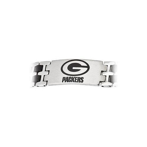 Stainless Steel and Rubber Green Bay Packers Team Logo Bracelet - 8 Inch