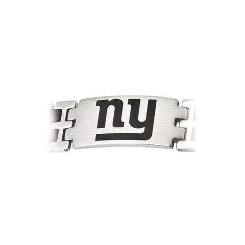 Stainless Steel and Rubber New York Giants Team Logo Bracelet - 8 Inch