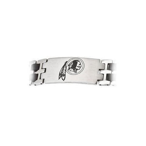 Stainless Steel and Rubber Washington Redskins Team Logo Bracelet - 8 Inch