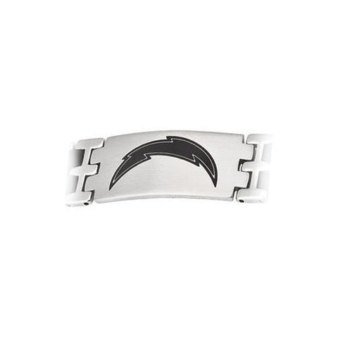 Stainless Steel and Rubber San Diego Chargers Team Logo Bracelet - 8 Inch