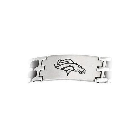 Stainless Steel and Rubber Denver Broncos Team Logo Bracelet - 8 Inch