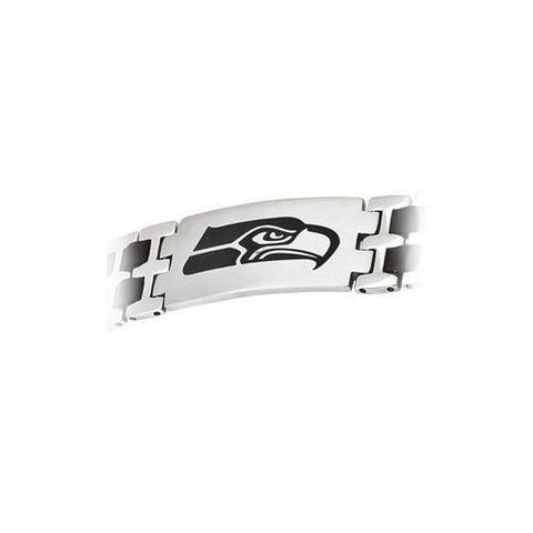 Stainless Steel and Rubber Seattle Seahawks Team Logo Bracelet - 8 Inch