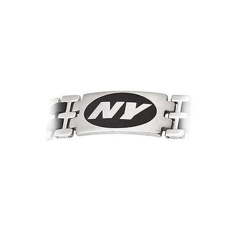 Stainless Steel and Rubber New York Jets Team Logo Bracelet - 8 Inch