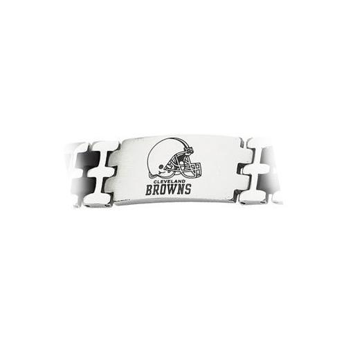 Stainless Steel and Rubber Cleveland Browns Team Logo Bracelet - 8 Inch