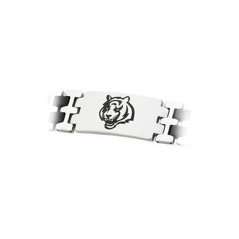 Stainless Steel and Rubber Cincinnati Bengals Team Logo Bracelet - 8 Inch