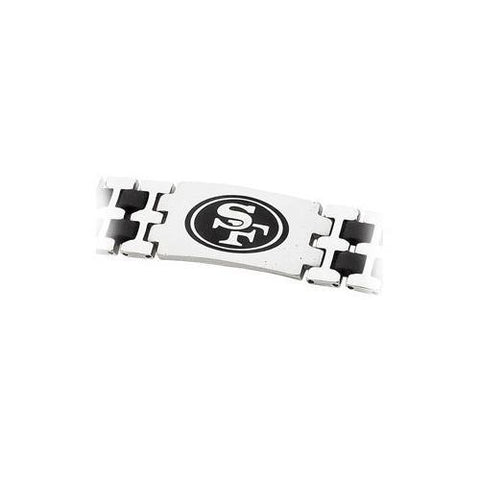 Stainless Steel and Rubber San Francisco 49ers Team Logo Bracelet - 8 Inch