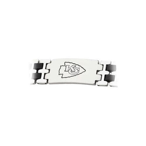 Stainless Steel and Rubber Kansas City Chiefs Team Logo Bracelet - 8 Inch