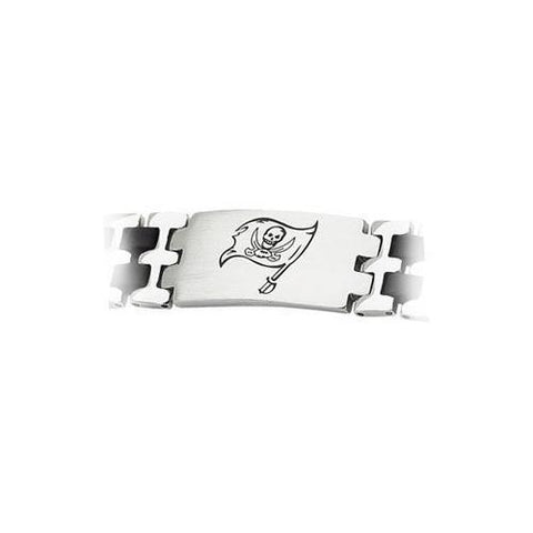 Stainless Steel and Rubber Tampa Bay Bucs Team Logo Bracelet - 8 Inch