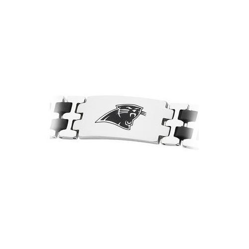 Stainless Steel and Rubber Carolina Panthers Team Logo Bracelet - 8 Inch